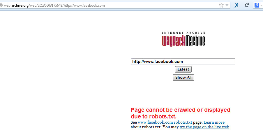 Internet Archive / Wayback Machine for Investigation