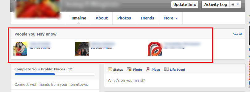 People You May Know location when you login