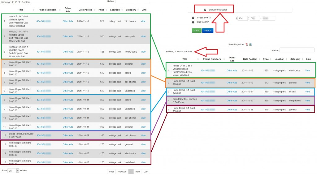 v16 exclude duplicates clusters