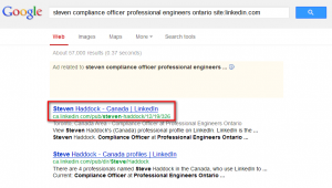 search for LinkedIn 3rd degree user on Google