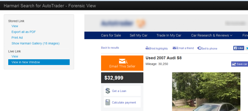 autotrader forensic view blur