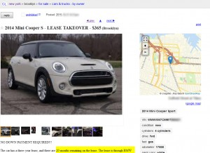 craigslist lease takeover ad
